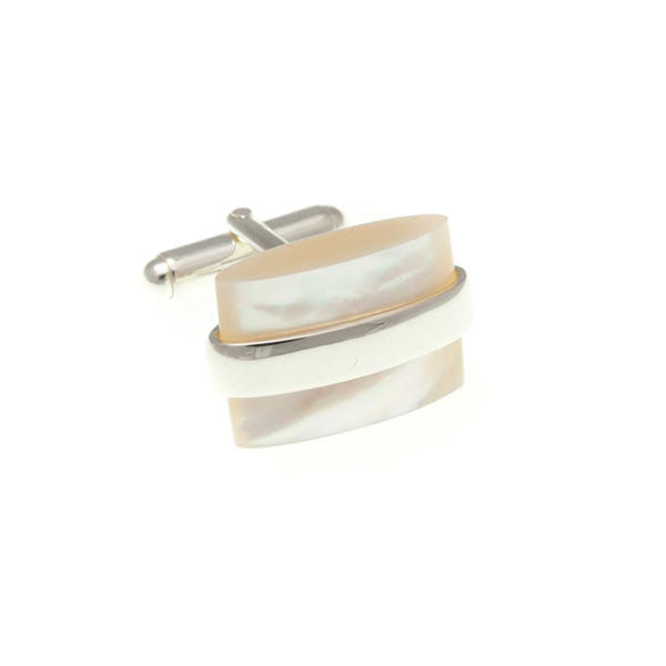 Saturn Mother Of Pearl .925 Solid Silver Cufflinks by Elizabeth Parker England