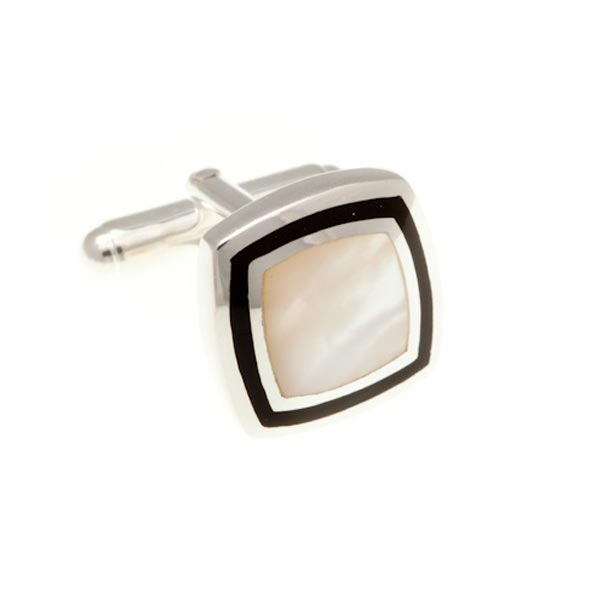 Black Onyx & Mother Of Pearl Picture Frame .925 Solid Silver Cufflinks by Elizabeth Parker