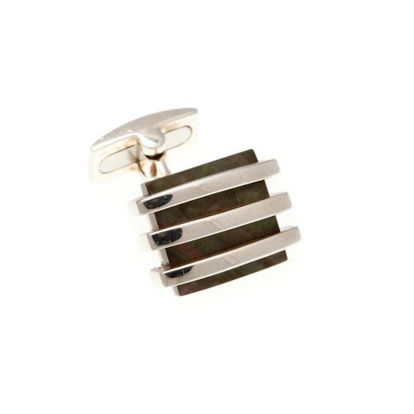 Band Of Silver Cufflinks With Smoky Mother Of Pearl Centre by Elizabeth Parker England