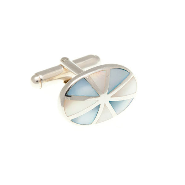 Sunray Cufflinks in .925 Solid Silver and Mother of Pearl by Elizabeth Parker
