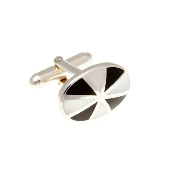 Sunray Cufflinks in .925 Solid Silver Mother of Pearl And Black Onyx by Elizabeth Parker