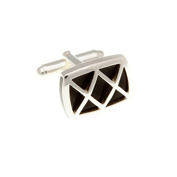 Rectangular Black Onyx Cufflinks With .925 Solid Silver Criss Cross by Elizabeth Parker England