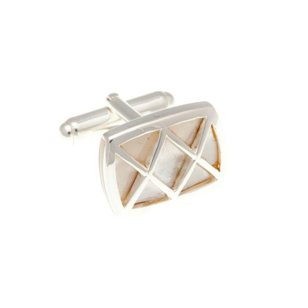 Rectangle White Mother Of Pearl Cufflinks With .925 Solid Silver Criss Cross