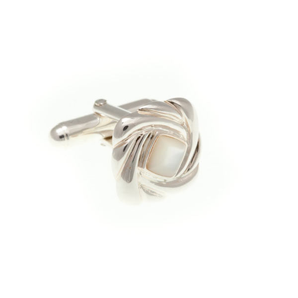 .925 Solid Silver Swirl Cufflinks With Mother Of Pearl Centre by Elizabeth Parker