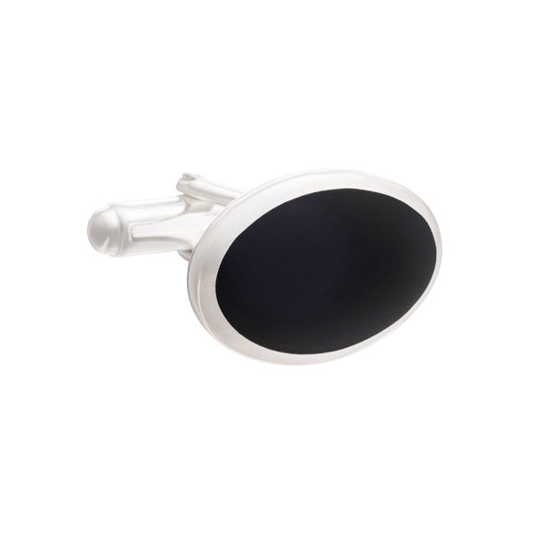 Timeless Classic Oval Cufflinks in .925 Silver and Black Onyx by Elizabeth Parker
