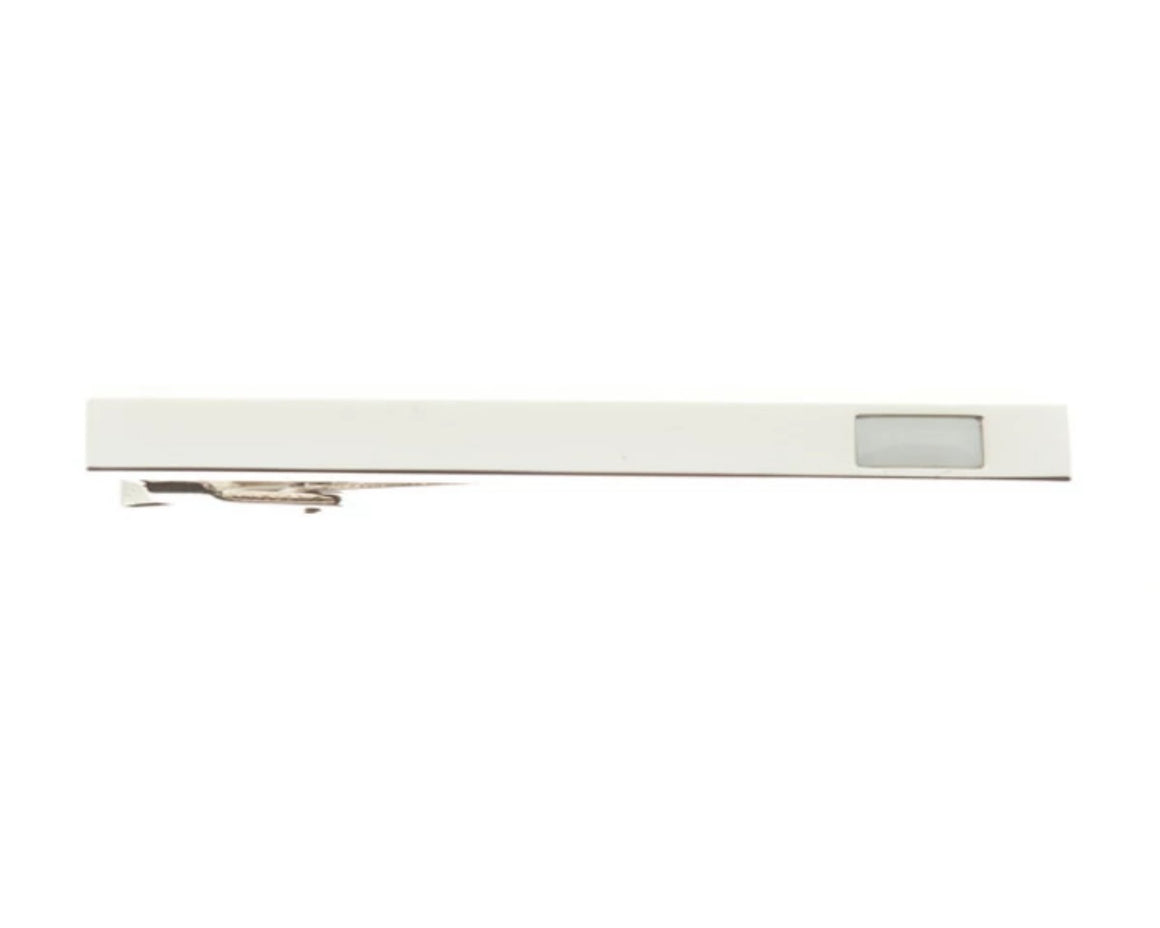 Polished Tie Clip With Ice White Insert 55mm by Elizabeth Parker