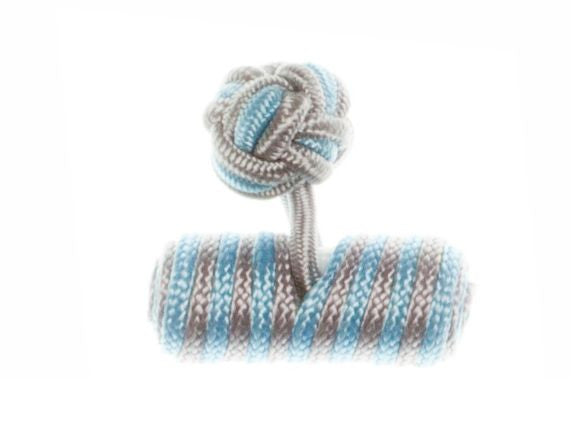 Light Grey & Light Blue Barrel Cuffknots Silk Knot Cufflinks - by Elizabeth Parker England