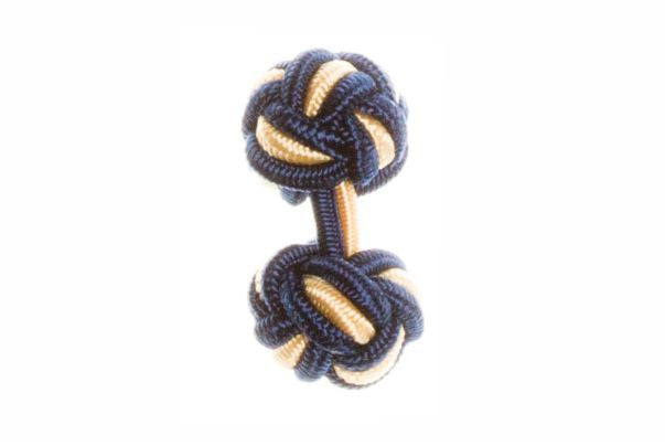 Navy Blue & Yellow Cuffknots Silk Knot Cufflinks - by Elizabeth Parker England
