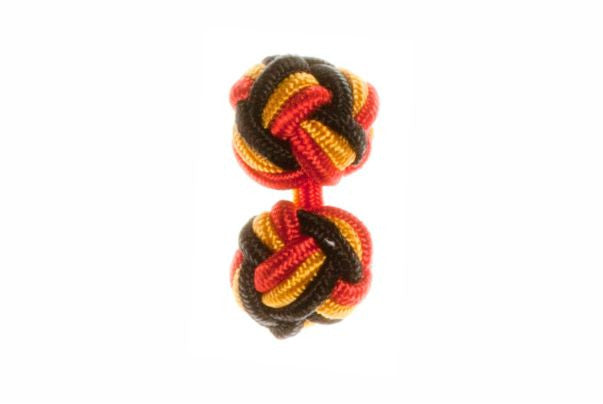 Red & Black & Gold Cuffknots Silk Knot Cufflinks - by Elizabeth Parker England