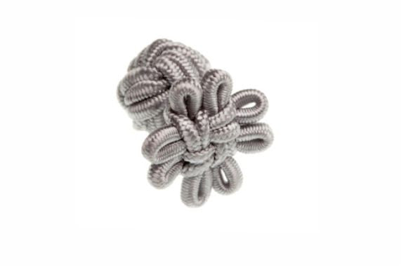 Grey Flower Shaped Cuffknots Silk Knot Cufflinks - by Elizabeth Parker England