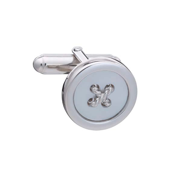 Limited Edition .925 Solid Silver and Mother of Pearl Button Cufflinks with cross stitch
