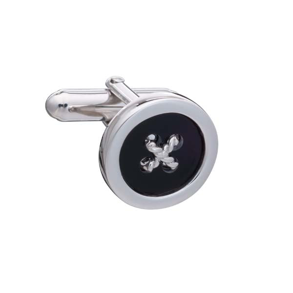 Limited Edition .925 Solid Silver and Black Onyx Button Cufflinks with Cross Stitching by Elizabeth Parker