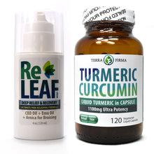 Load image into Gallery viewer, Terra Firma Pain Relief Kit: Turmeric Curcumin 1100mg - 120 Vegetarian Liquid Capsules PLUS ReLeaf Cream - 4 oz