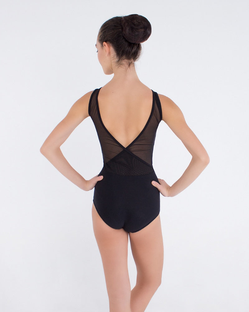 Grishko 2075 - V Back Mesh Insert Tank Leotard Womens - Dancewear - Bodysuits & Leotards - Dancewear Centre Canada