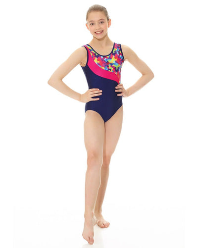 Mondor 17804C - Combination Swirl Print Gymnastic Tank Leotard Girls - Dancewear - Gymnastics - Dancewear Centre Canada