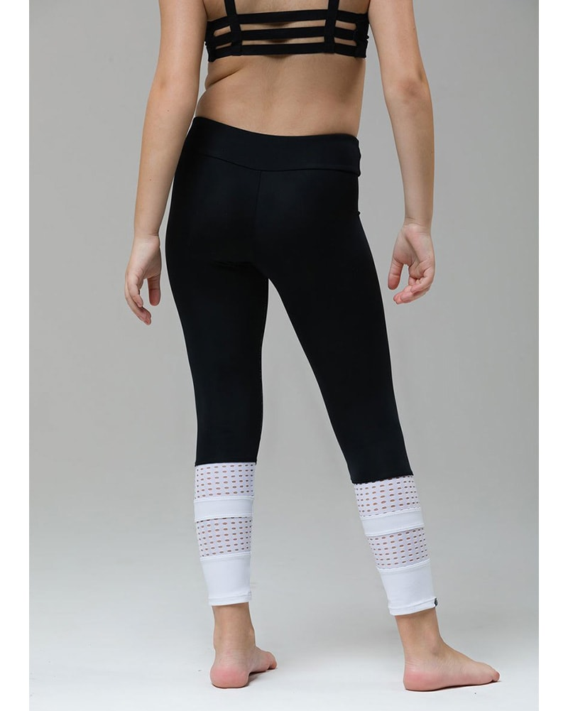 Onzie Youth Racer Legging - 8028 Girls - Black/White Combo - Activewear - Bottoms - Dancewear Centre Canada