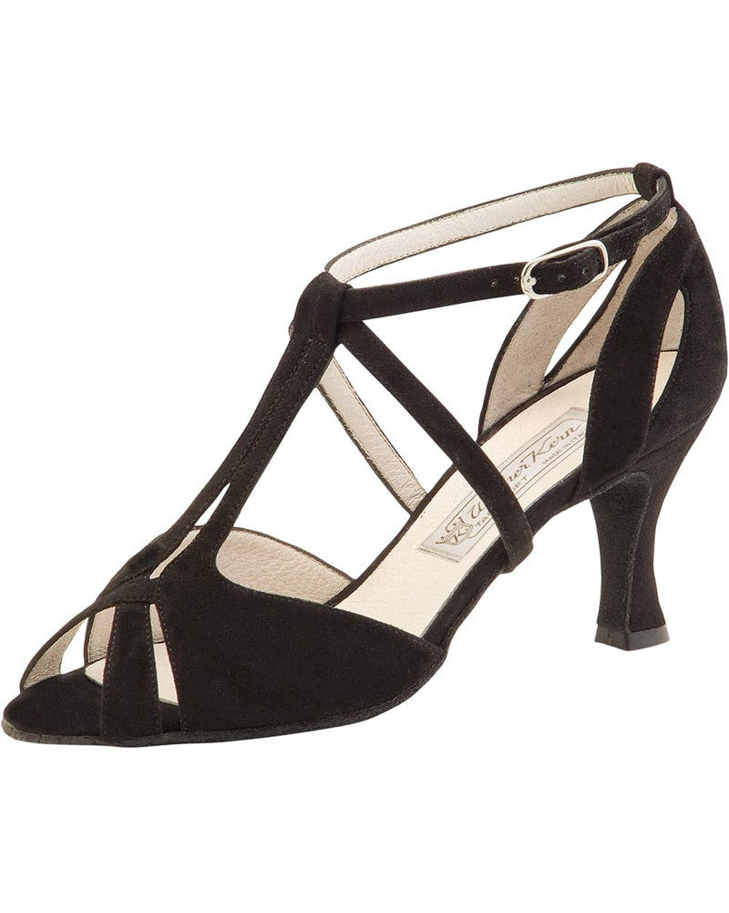 Werner Kern Francis T-Strap Filigree Suede 6.5 cm Latin Ballroom Shoes - Womens