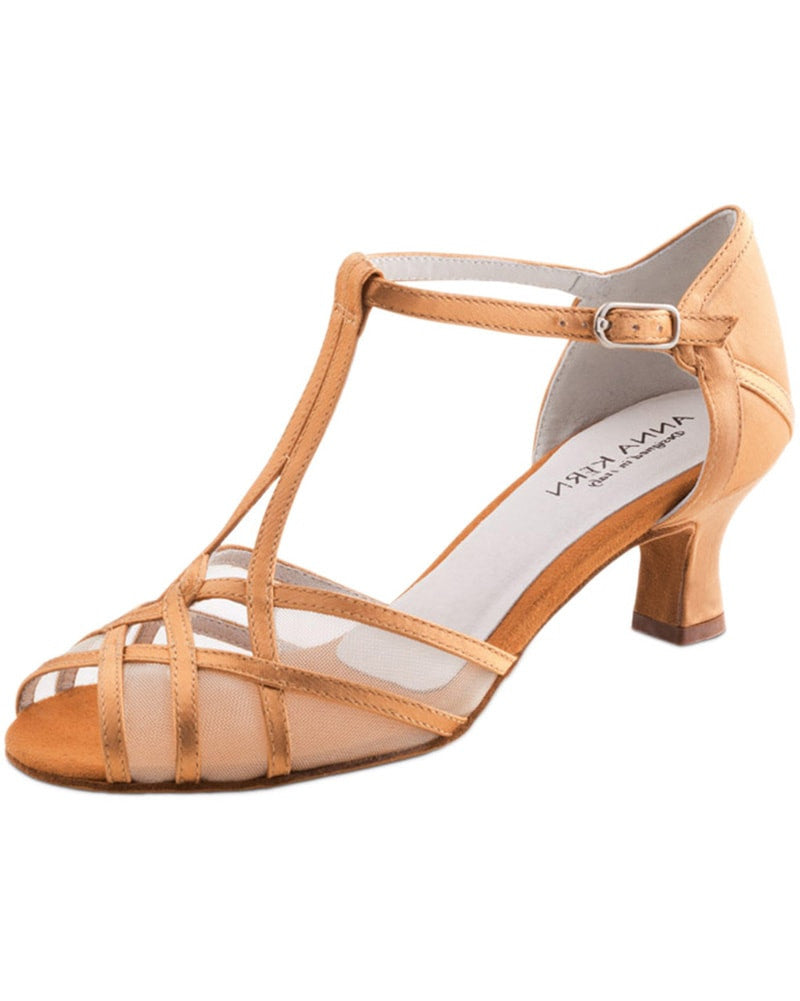 Werner Kern Interlooped Transparent Mesh Satin 5 cm Latin Ballroom Shoes - 540-50 Womens