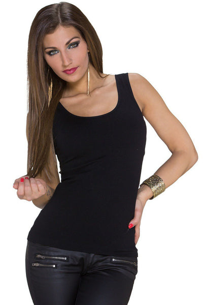 Black Trendy Tank Top Lace Back Stretch Round Neck Top