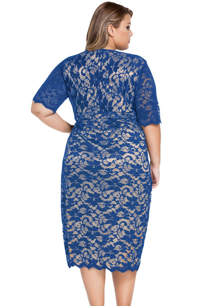 Blue Plus Size V-Neck Half Sleeve Lace Trendy Midi Dress