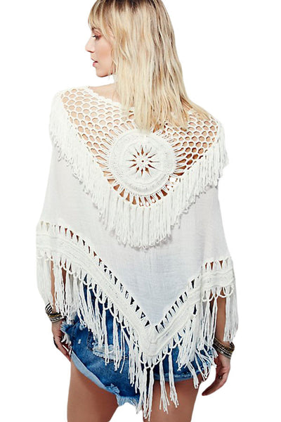 Chic Crochet Hollow-out White Sundial Poncho
