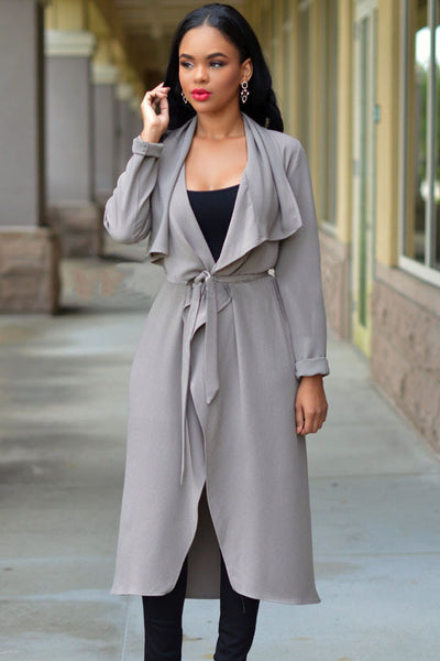 Elegant Grey Lightweight Shawl Collar Trench Jacket