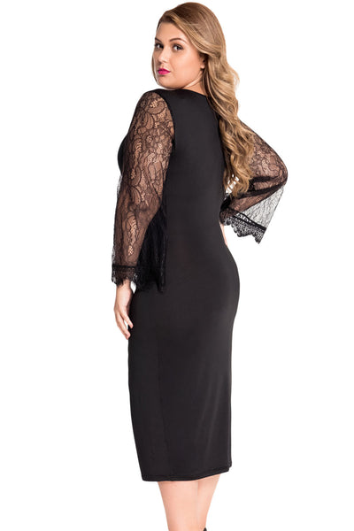 Flattering Delicate Lace Bell Sleeves Plus Size Little ...