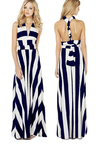 Simple But Chic Navy White Stripe Maxi Dress