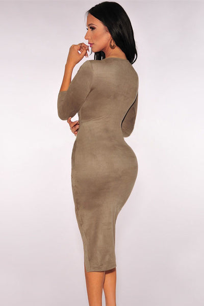 Trendy Taupe Faux Suede Snug Knotted Midi Dress