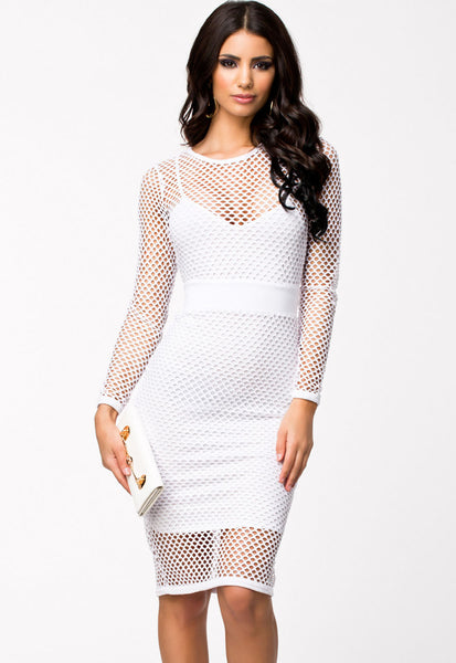 White Fitted Netted HerFashion Cutout Chic Midi Dress