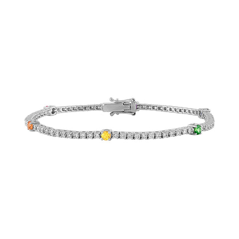 Diamond and Rainbow Tennis Bracelet