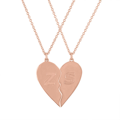 Initial BFF Heart Necklace