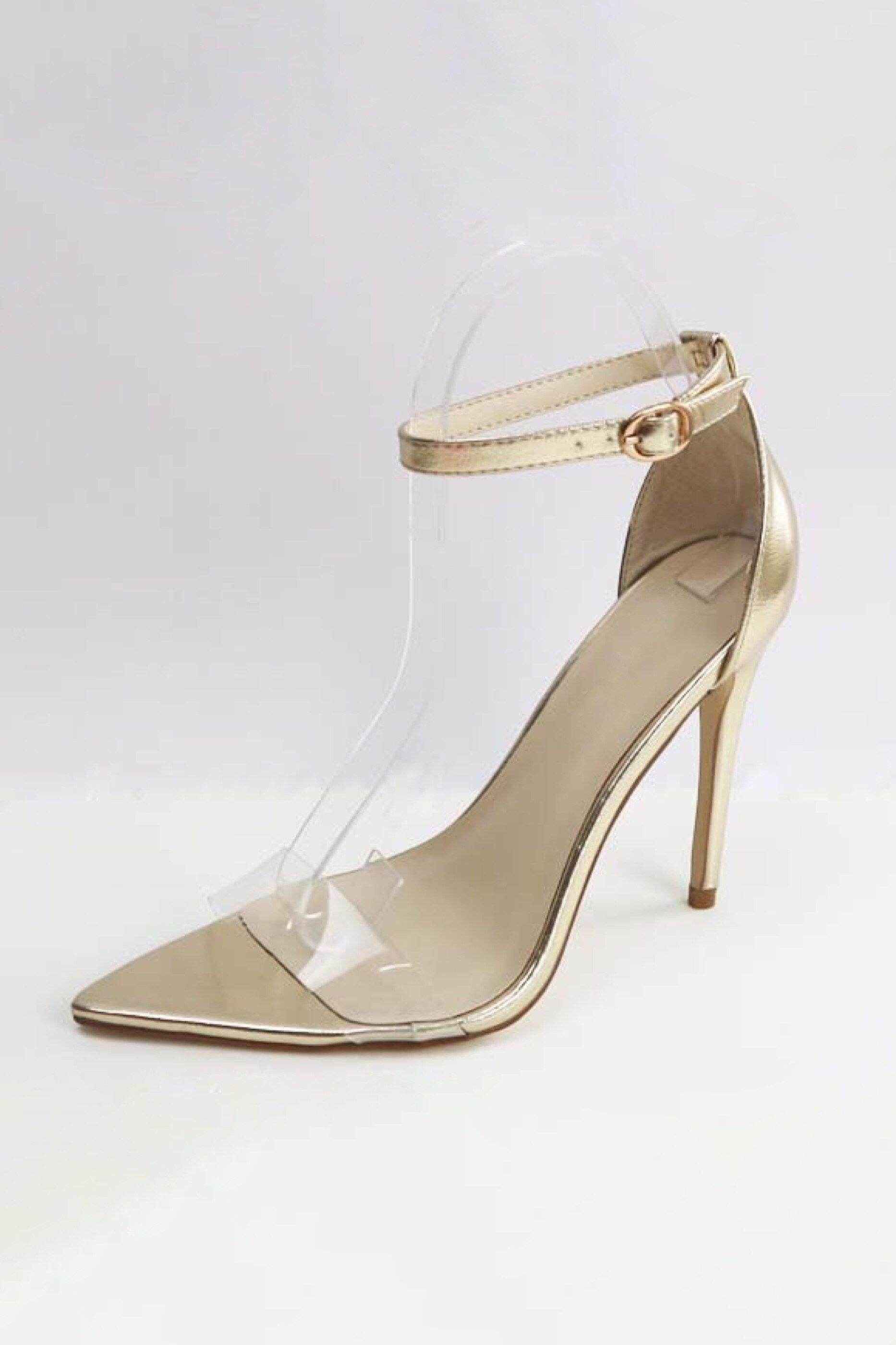 Pointed Clear band open toe Exception Nude heels with ankle strap