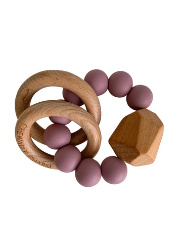 Hayes Silicone + Wood Teether Ring- Gem