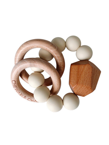 Hayes Silicone + Wood Teether Ring- Cream