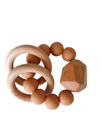 Hayes Silicone + Wood Teether Ring- Terra Cotta
