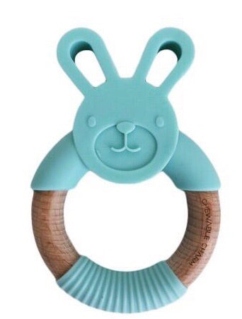 Bunny Silicone + Wood Teether - Mint