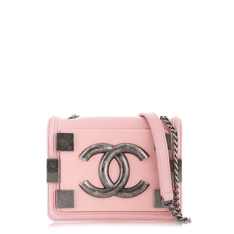 Chanel Pink Leather Mini Boy Brick Flap Bag