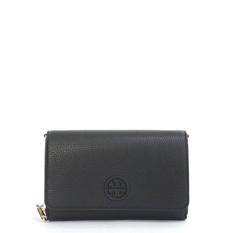 Tory Burch Black Bombe Flat Wallet Crossbody Bag