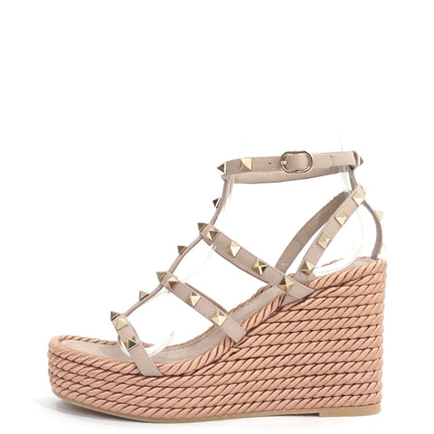 Valentino Poudre Rockstud Torchon Leather Wedge Sandals 36