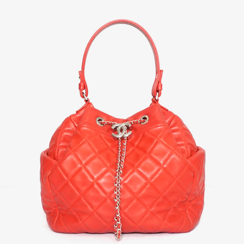 Chanel Red Lambskin Drawstring Bag