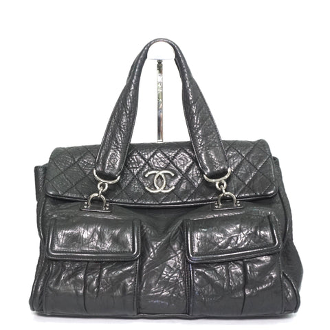 Chanel Black Distressed Calfskin Leather Handbag