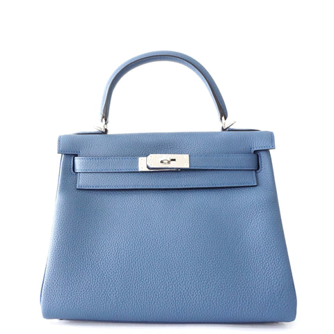 Hermes Brand New Kelly 28 Blue Agathe PHW