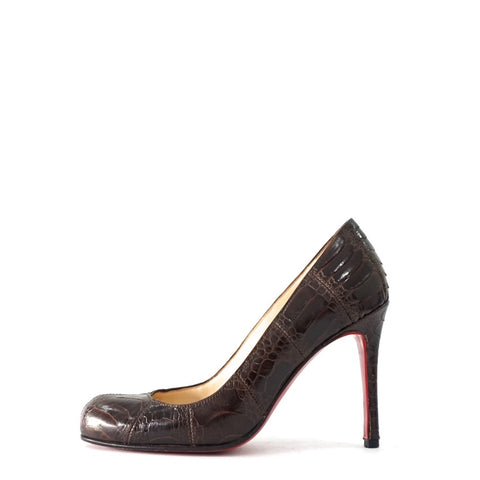 Christian Louboutin Cacao Alligator Pumps 35.5