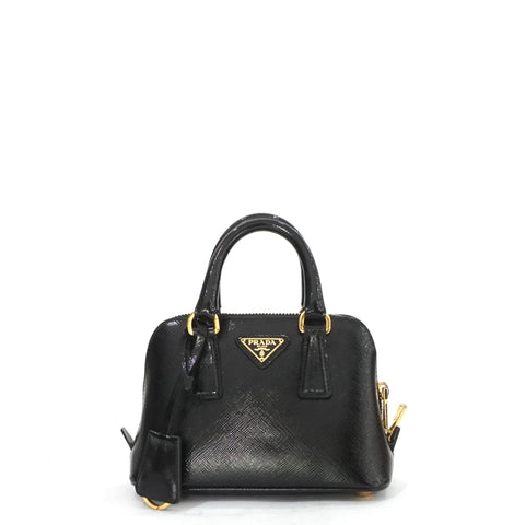 Prada Mini Saffiano Black Vernice Promenade Crossbody Bag