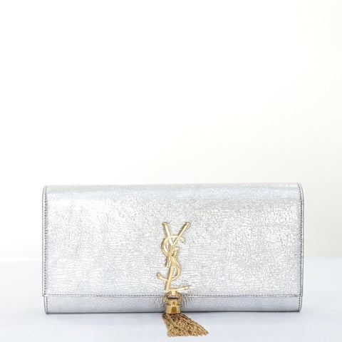 YSL Silver Clutch with Gold Tassel and Hardware