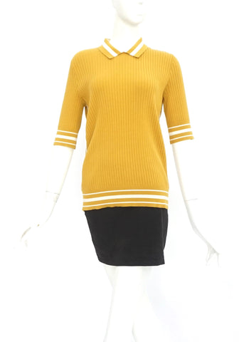 Tory Burch Mustard Knit Polo Shirt with White Stripes