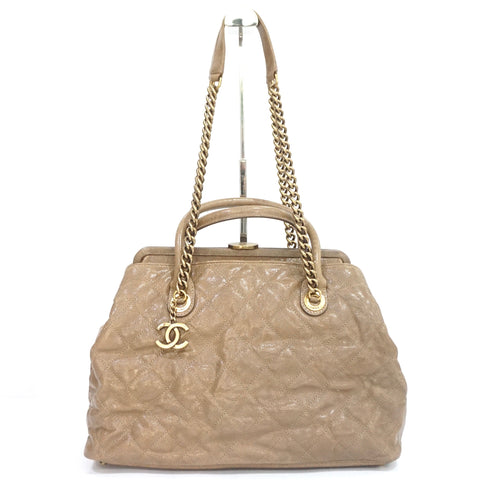 Chanel Dark Beige Caviar Limited Edition Large Shopping Bag Gold Hardware