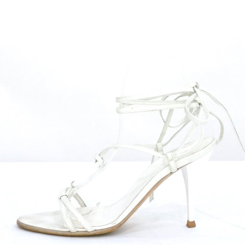 Hermes White Lace-Up Sandals 37.5