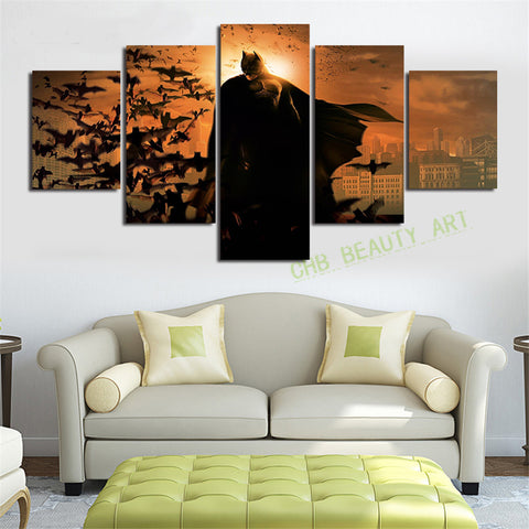 5 Piece Printed Batman Movie Poster Group Painting children's room decor print poster picture canvas Unframed